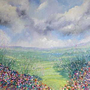 field of flowers stormy sky rainclouds pinks flowerscape spring wall art original painting picture fine art print artwork
