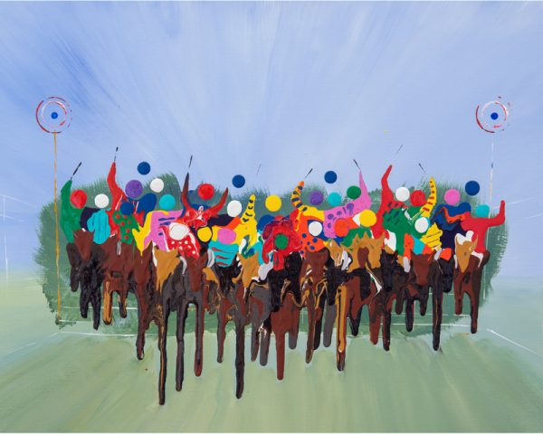 horse race painting aintree grand national horse race horses racing aintree abstract acrylic original painting sport wall art picture print artwork