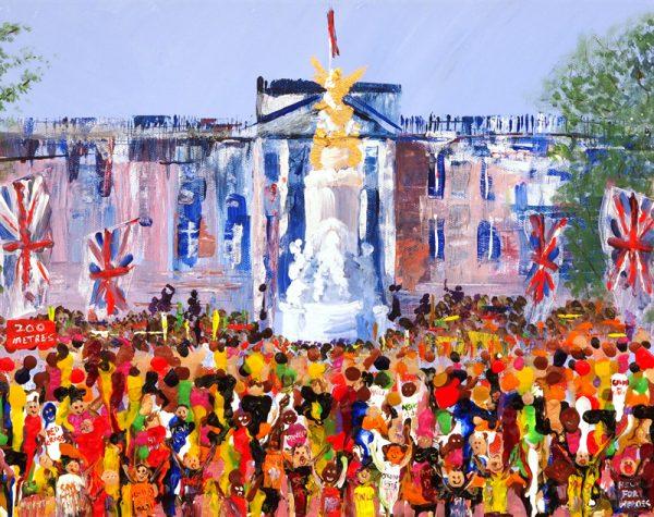 Buckingham palace runners running marathon finish line sport wall art painting picture original fine art print artwork