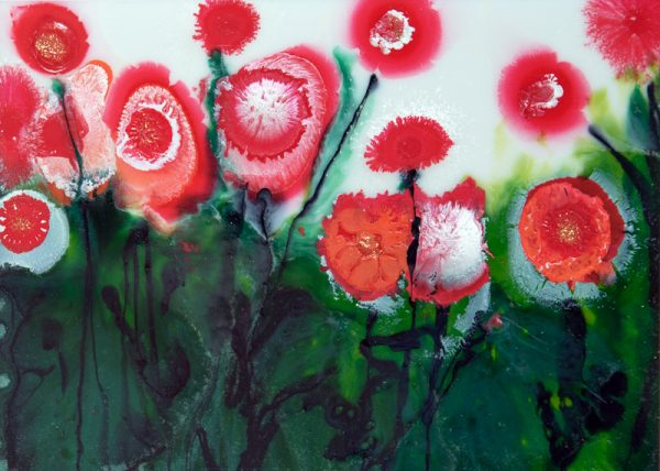 flowerscapes wildflowers red poppies poppy field original painting wall art picture fine art print artwork spring landscape