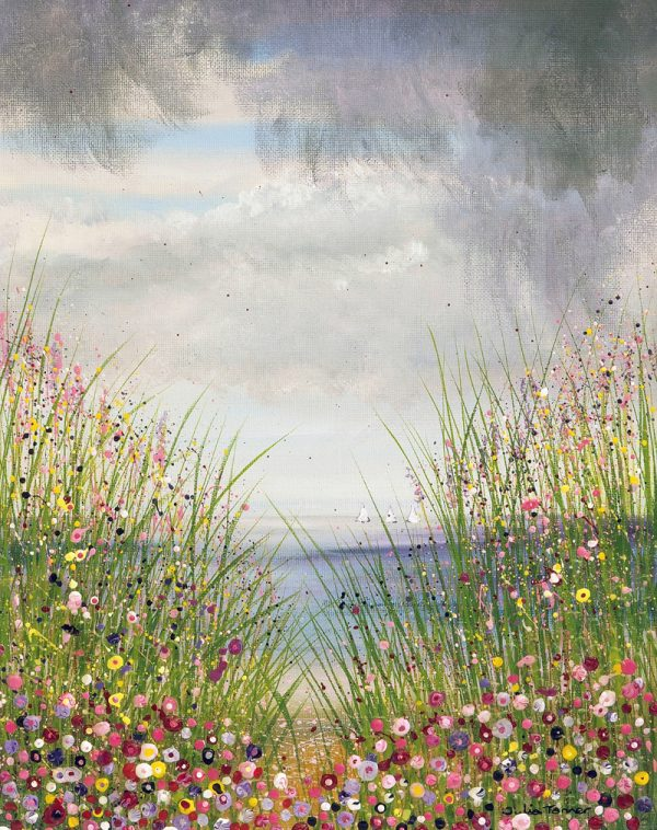 seaside flowers seascape stormy sky floral meadow wall art painting picture artwork fine art print