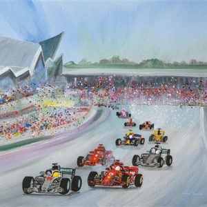 British G.P. Greetings Card the British Grand Prix Silverstone formula one racing cars original art painting picture print wall art