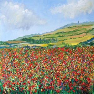 poppy meadow triptych poppy field poppy painting art wall art print picture isle of wight
