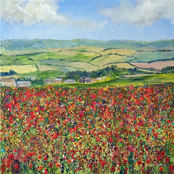 red poppy field picture painting wall art print poppy meadow wildflower field meadow