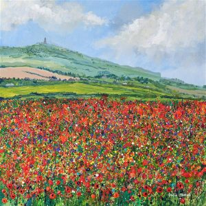 field of poppies triptych poppy meadow picture painting wildflower art print original painting