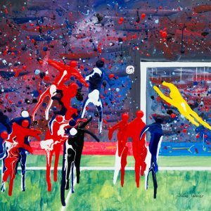 football painting match corner Liverpool Manchester United Chelsea arsenal header goal keeper sport abstract wall art painting original picture fine art print artwork
