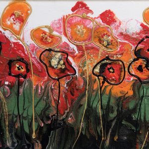 poppy red poppies textured abstract acrylic painting red orange gold flowerscape flower meadow wall art original painting picture fine art print artwork