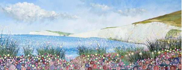 Isle of wight art artist panoramic panorama seascape floral art wall art painting original picture print artwork abstract flowers