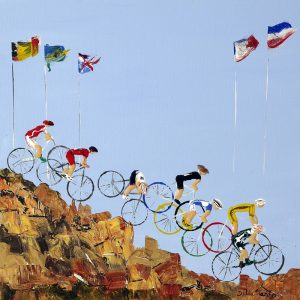 mountain bikes cycling bicycle Olympic Games Hadleigh Essex sport wall art original painting picture fine art print artwork