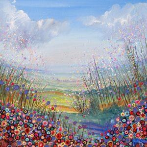purple red pink flowers flowerscape landscape filled spring wall art original painting picture fine art print artwork