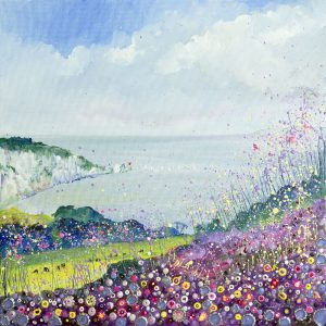 isle of wight alum bay artist seascape pink heather clifftop the needles pink flowers and heather wall art painting picture fine art print artwork