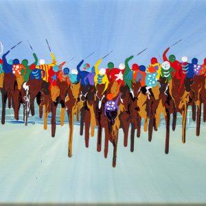 sport jockeys silks speed galloping grand national royal ascot horses racing wall art original painting picture fine art print artwork