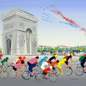 cycling painting bicycles cycling race racing arc de triumphe Paris le patrouille de france sport wall art painting original picture fine art print artwork sport