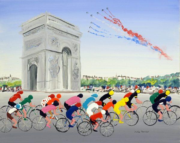 cycling painting bicycles cycling race racing arc de triumphe Paris le patrouille de france sport wall art painting original picture fine art print artwork sport