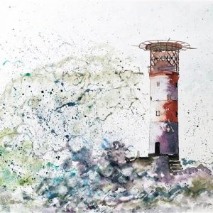 Lighthouse storm Hand Embelished Print