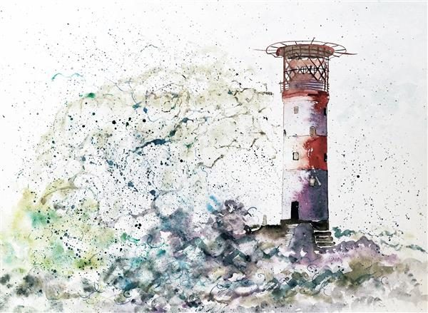 Lighthouse storm Greetings Card