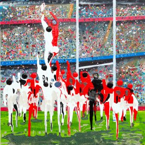 line out England v Wales six nations rugby union wall art painting picture fine art print artwork