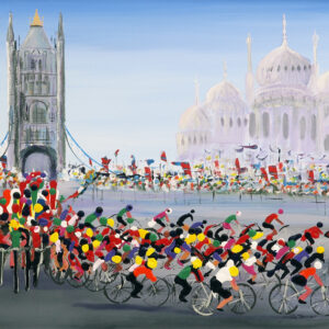 bicycle race cycle racing road race original painting wall art picture abstract art
