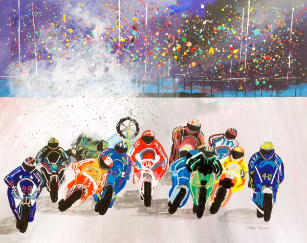 motorbikes motorcycle motorcycling grand prix racing sport donnington park Silverstone sport wall art original painting picture fine art print artwork