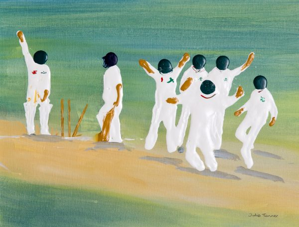 cricketers stumps wicket crease World Cup oval test cricket England sport wall art bowler original painting picture fine art print artwork
