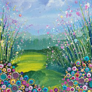 flowerscape floral pink turquoise field acrylic paint wall art original painting picture fine art print artwork