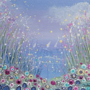 seaside floral wildflowers pink spring flowerscape wall art original painting picture print artwork