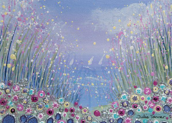 seaside floral wildflowers pink spring flowerscape wall art original painting picture print artwork