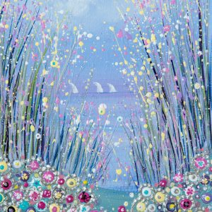 pink flowers flowerscape spring seaside original painting wall art picture print artwork