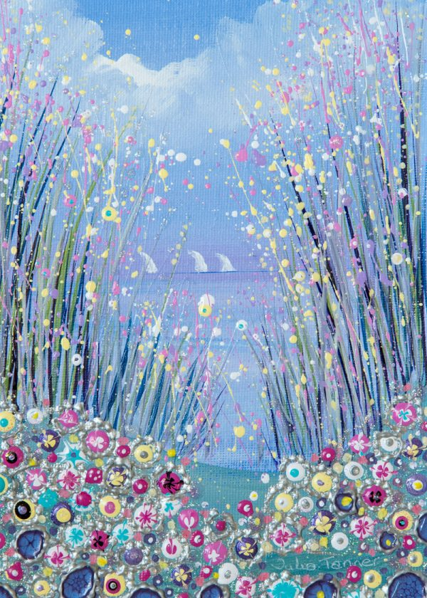 pink flowers flowerscape spring seaside original painting wall art picture print artwork
