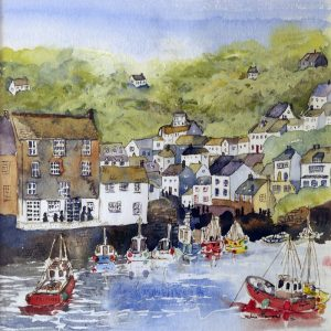 Polperro art Cornish fishing village Polperro Cornwall boats wall art painting picture print artwork