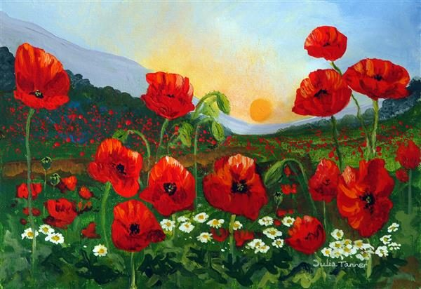 Poppies at sunset Greetings Card
