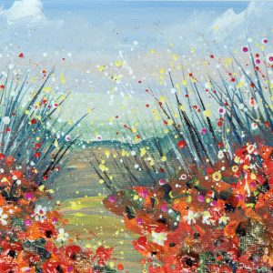 poppy meadow wild flowers flowerscape red poppies landscape wall art original painting picture fine art print artwork summer meadow