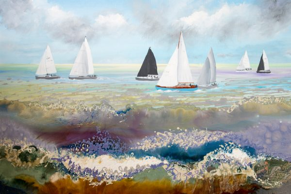 seascape painting yachts round the island race the isle of wight art artist original painting wall art Pebeo paint acrylic picture print artwork sport