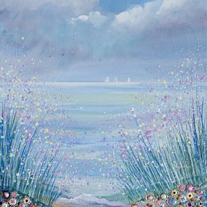 flowerscape painting seaside picture
