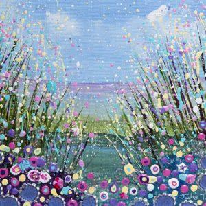 flowerscape field of flowers flower meadow pink purple original painting wall art picture fine art print artwork