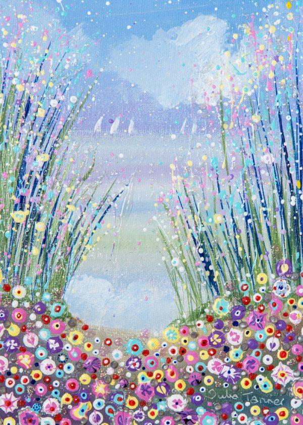 seascape seashore flowers floral landscape pink lilac boats yachts wall art original paining picture fine art print artwork
