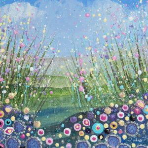 wildflower field flowerscape pastel pink spring blossom floral landscape original painting wall art picture art print artwork