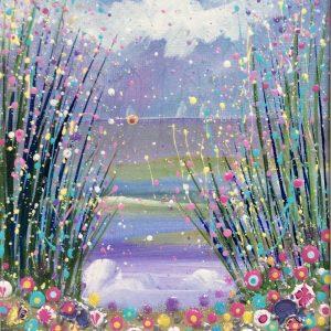 seascape floral landscape purple waves wall art original painting picture fine art print artwork