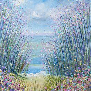 pink pastel flowers seascape flowerscape waves sandy beach floral landscape original painting wall art picture fine art print artwork