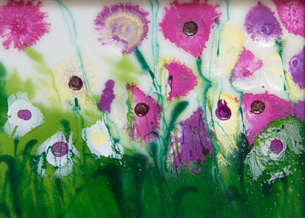 wild flowers original resin flower painting wall art picture fine art print artwork flower field