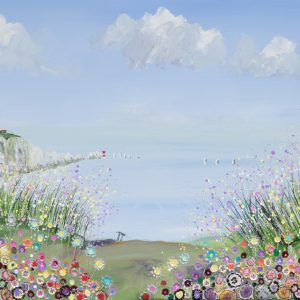 isle of wight art artist alum bay lighthouse seaside pink and lemon pastel flowers fluffy clouds summer holidays wall art painting picture print artwork