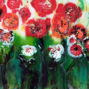 original resin painting red poppies meadow wildflowers flowerscape wall art picture fine art print artwork abstract