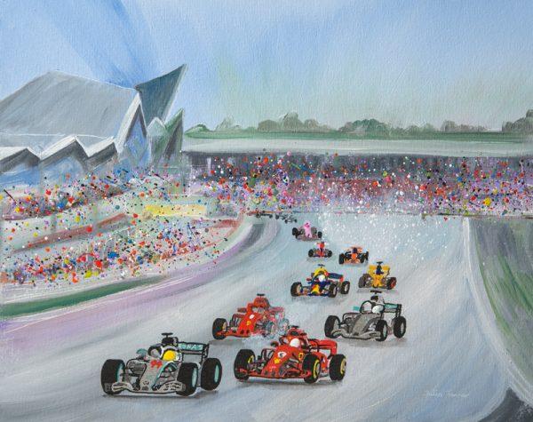Silverstone car race formula 1 lewis Hamilton Vettel Ferrari maclaren sport wall art original painting original picture print artwork