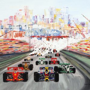 the Monaco Grand Prix formula one car racing wall art painting picture fine art print artwork lewis Hamilton Vettel
