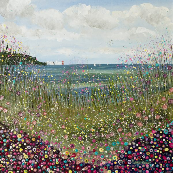 isle of wight painting lighthouse alum bay isle of wight art artist flowers floral seascape seaside sea wildflowers wall art painting original picture print artwork