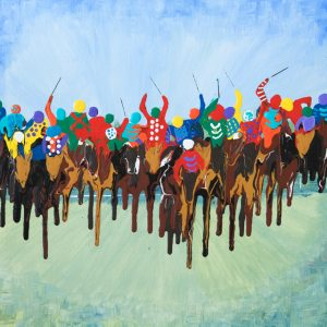 sport galloping flat race royal ascot horse race jockeys abstract acrylic paint wall art original painting picture fine art print grand national artwork