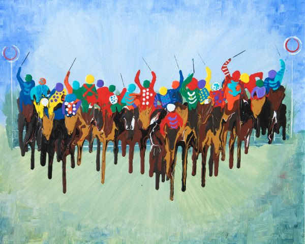 horse race painting sport galloping flat race royal ascot horse race jockeys abstract acrylic paint wall art original painting picture fine art print grand national artwork