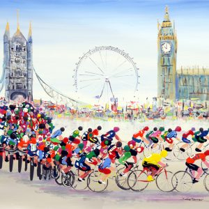 cycling painting bicycles road race London yellow jersey peloton houses of parliament Westminster tower bridge London eye sport art wall art original painting picture fine art print artwork