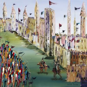 English archers longbow castle under siege arrows sport art wall art original painting picture fine art print artwork