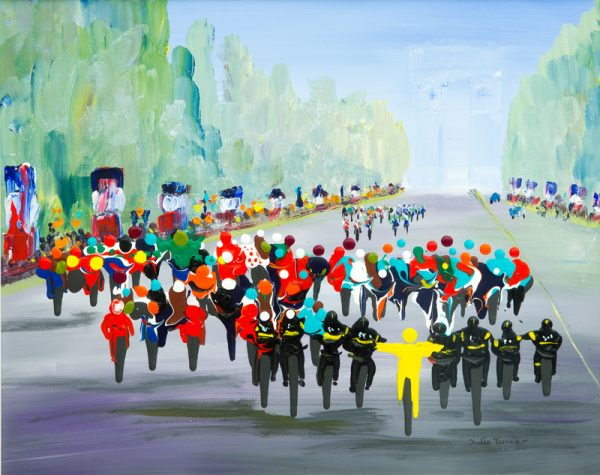 cycle race bicycle road racing Chris Froome team sky le champs elysees sport art wall art original painting picture fine art print artwork
